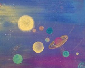 """""""Blue Sparkle Planets"""" 20""""X16"""" Canvas"""
