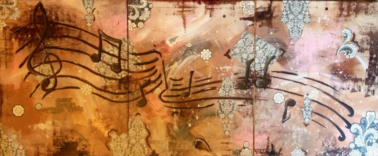 """Music Notes"" 72""X36"" Canvas-Triptych (each 24""X36"")"