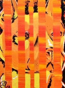 """Orange Pit Bull "" 9""X11"" Canvas"