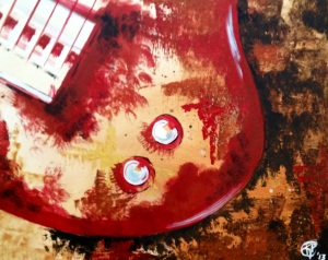 """Red Guitar"" 20""X32"" (each 16""X20"") Gallery Wrapped Canvas"