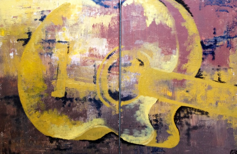 """Yellow Acoustic"" Diptych  Panel 32""X20"" (each 16""X20"")"